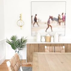 """1,141 Likes, 8 Comments - #LTKhome (@liketoknow.it.home) on Instagram: """"Woven detail, pretty palms and a light finish, we are loving @viewfrommyheels' natural dining room…"""""""