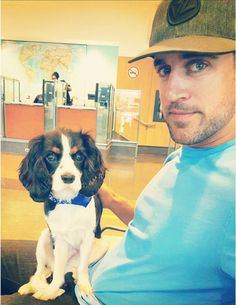 Aaron and his puppy Chance.  http://lambeaufield.tumblr.com/post/122163175608/aaron-chance-rodgers