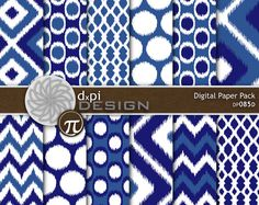 This is a set of twelve blue digital papers in a variety of ikat designs including diamonds, lattice, chevrons, and polka dots. ** THIS IS A DIGITAL
