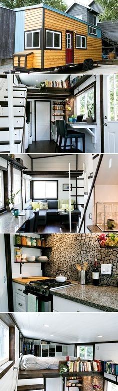 Note LR sofa convertible to Queen bed and under one loft, bright gloss ceilings, cool kit backsplash. Shannon Black used his construction experience to build himself a tiny house. The result was this beautifully designed house with high end finishes. Tiny House Plans, Tiny House On Wheels, Tiny House Nation, Little Houses, Tiny Houses, Tiny House Movement, Tiny House Living, Tiny House Closet, Tiny House Storage