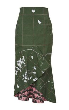 Ivory Midi Skirt In Green | Johanna Ortiz | Fall 2015