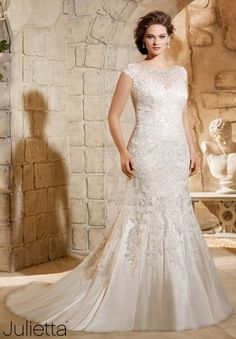 Plus Size Wedding Dress 3188 Crystal Beaded Embroidery with Sparkling Lace Appliques on Soft Net: