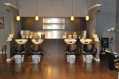 Nice back bar area Hair Salons, Salon Designs, Shampoo Cabinetry, Salon Interiors, Backwash Salon, Backwash Shampoo, Salon Shampoo Area, B E Salon, Shampoo ...