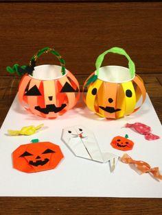 ハロウィンの紙コップや折り紙を使った作品♪ 幼児向け工作の参考