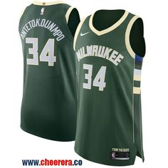ac669b2679b Men s Nike Milwaukee Bucks  34 Giannis Antetokounmpo Green NBA Authentic  Icon Edition Jersey Basketball Uniforms