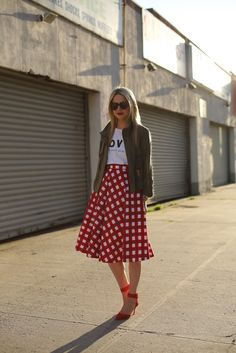 Skirt: ASOS. Jacket: Club Monaco. Shoes:Zara. Tee: WhoWhatWear. Sunglasses: Karen Walker 'Number One'. Purse: Celine. Jewelry: David Yurman, Jcrew, Michele Watch, Pomellato.