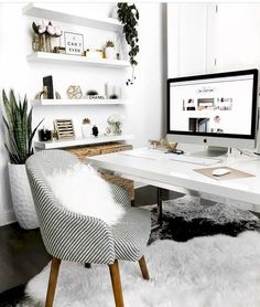 White desk designs for minimalist home office - desk ideas for . : White Desk Designs for Minimalist Home Office – Desk – Ideas for …, Home Office White Desk, Mesa Home Office, Cozy Home Office, White Desks, Home Office Space, Home Office Desks, Office Workspace, White Double Desk, Spare Room Home Office Ideas