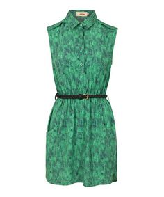 Love this Green Sketch Belted Shirt Dress on #zulily! #zulilyfinds