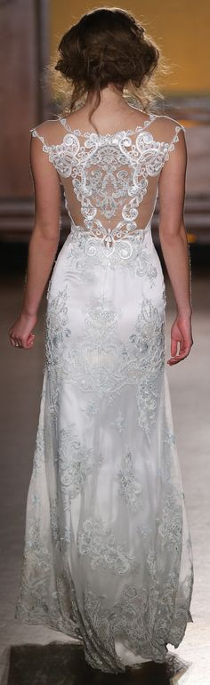 The subtle aquamarine details in Cameo by Claire Pettibone couldn't be more perfect for a beach wedding. https://couture.clairepettibone.com/collections/the-gilded-age/products/cameo