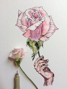 Noel Badges Pugh étudie ses propres Mains mélangées avec des Dessins de Fleurs et d'Abeilles (5)