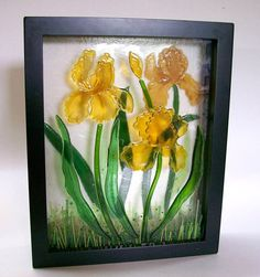 Fused Glass Painting (Yellow Iris). $125.00, via Etsy.