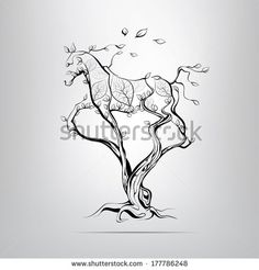 Silhouette of a running horse in a tree. vector illustration - stock vector
