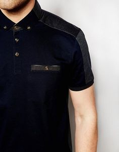 Enlarge Ted Baker Polo Shirt With Panels Ted Baker Tshirts, Polo Tees, Men's Polo, One Direction Shirts, Polo Design, Winter Shirts, Casual Wear For Men, T Shirt Diy, Mens Tees