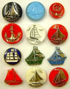 12 Vintage Nautical Buttons in Glass and Enamel.