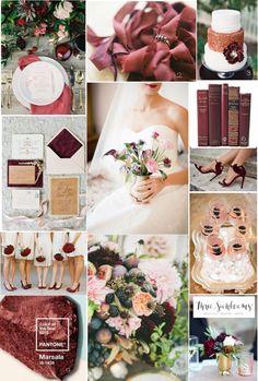 MARSALA WEDDING INSPIRATION – PANTONE TOP TEN WEDDING COLOR IDEAS FOR SPRING 2015   http://www.threesunbeams.com/marsala-wedding/