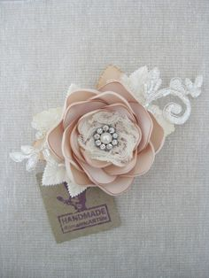 Champagne Flower Clip. Bridal Champagne Flower by RomanticARTlife, $44.95