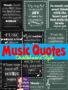 Music Quotes Posters Chalkboard Style is part of Music classroom bulletin boards Music DecorSpread the joy of music with these 10 different posters (in 2 designs) Each page contains a quote about m - Singing Quotes, Singing Lessons, Singing Tips, Music Quotes, Piano Quotes, Piano Lessons, Music Lessons, Music Education Quotes, Choir Room