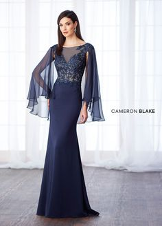Cameron Blake by Mon Cheri is a classic, refined collection of mother of the bride dress sets, special occasion gowns & ladies dress suits. Elegant Dresses, Pretty Dresses, Beautiful Dresses, Evening Dresses, Prom Dresses, Wedding Dresses, Bride Dresses, Evening Gown With Sleeves, Navy Blue Evening Gown