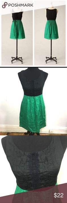 Maeve Anthropologie green and black dress Maeve Anthropologie green and black dress, missing  ribbon belt but you could easily pair it with another ribbon or go without. No stains or tears, side zipper closure, brand sold at Anthropologie Anthropologie Dresses