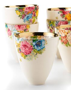 Flower tea cups