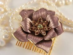Flower Hair Comb Beach Wedding Golden Brown Topaz Forrest Fairy Bridal Rustic Vintage Wedding Hair Jewelry Taupe Brownish Earth Colour Clip by VintageForAges on Etsy