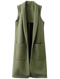 Pockets Turn-Down Collar Long Waistcoat - GREEN M