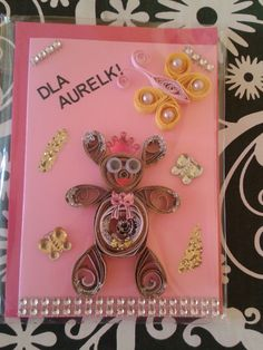 quilling card bear !