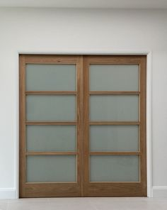 Contemporary solid internal wood sliding doors with opaque glass panelling. Sliding dividers can separate spaces without closing them off. Modern Closet Doors, Glass Closet Doors, Glass Doors, Discount Interior Doors, Double Doors Interior, Internal Sliding Doors, Sliding Glass Door, Glass Bathroom Door, Glass Door Curtains