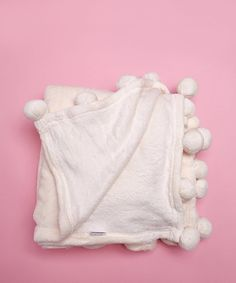 Product Name:Pom Pom Flannel Fleece Throw Blanket - Antique White, Category:BEAUTY_makeup_face_highlight-contour, Price:27