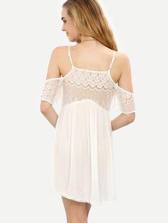 Vestido encaje inserto hombro frío -blanco-Spanish SheIn(Sheinside)