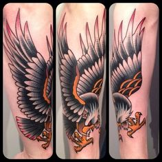 Tattoos, paintings, photos, and ramblings by Myke Chambers. Traditional Tattoo Artwork, Traditional Tattoo Inspiration, Traditional Eagle Tattoo, Traditional Ink, American Traditional, Army Tattoos, Tribal Sleeve Tattoos, Eagle Tattoos, Feather Tattoos