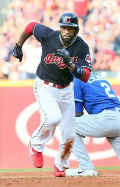Cleveland Indians Austin Jackson, after advancing to 2nd base on the throw home, scores when the throw got by Kansas City Royals 2nd baseman and center fielder, in the 6th inning at Progressive Field, Cleveland, Ohio, on September 16, 2017. This put the Indians up 7-2. (Chuck Crow/The Plain Dealer). Indians won 8-4