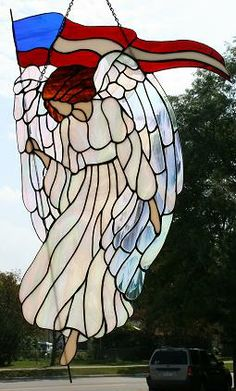 Stained Glass Angels | stained glass flag angel stained glass angel with flag stained