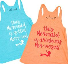 Mermaid Gettin' Merr-ied / Mermaid Drinking Mer-mosas Tank. XS-2XL, Bachelorette Tank, Bachelorette Party.
