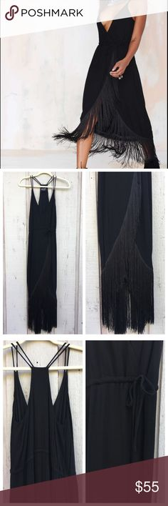 """Nasty Gal """"Movers and Shakers"""" fringe dress Nasty Gal brand """"Movers and Shakers"""" black fringe maxi dress. Front crossover with adjustable string waist tie. The dress has been tacked at the chest so your bust does not spill out, it can easily be undone. Size XS small but fits more like a small to medium. Measurements: bust: open, waist: 22 - 30"""" waist size. Nasty Gal Dresses Maxi"""