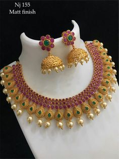 Gold Wedding Jewelry, Gold Jewelry Simple, Gold Rings Jewelry, Bridal Jewelry, Beaded Jewelry, 1 Gram Gold Jewellery, Silver Jewellery Indian, Gold Jewellery Design, Ruby Necklace Designs