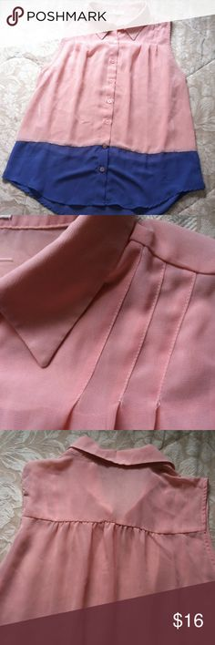 Sleeveless Blouse 100% Polyester crape blouse.  Like new!   Dainty pleats at front shoulders.  Lovely mine Tops Blouses