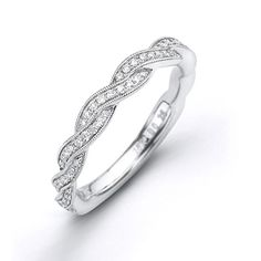 #EngagmentRings #SimonGcollection 18kt white gold semi-mount for 1.00ct centre with twist band set with round brilliant diamonds