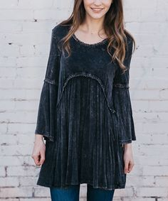 Black Wash Bell-Sleeve Empire-Waist Tunic