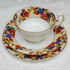 Aynsley Tea Trio. Cup saucer and plate in pattern 4500