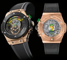 The Official Watch of the World Cup, which is a Big Bang Unico Bi-Retrograde Chrono model, will be produced in two limited editions: 200 pieces in ceramic and 100 pieces in King Gold.