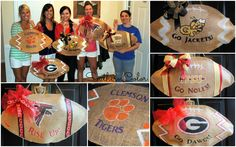 Southern Color - Great blog post on DIY Burlap Football Door Hangers! Try Removable #GlueDots for the sencil and Glue Lines to seal the edge!