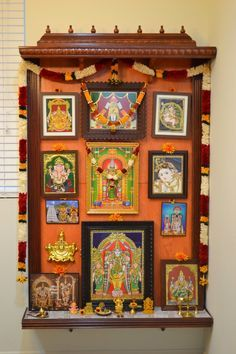 Easy Home made Pooja mandap USA with the materials from Home depot and lowes… Temple Design For Home, Home Temple, Temple Room, Mandir Design, Decor Wedding, Wedding Colors, Wedding Flowers, Pooja Room Door Design, Puja Room