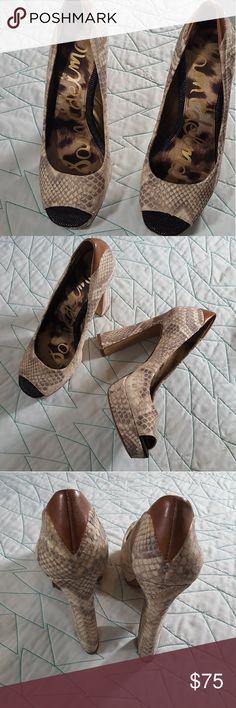 Sam Edelma Tacoma Heels Tacoma Snake Print. Open-Toe. Black and White Saddle. 5inch heel Sam Edelman Shoes Heels