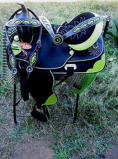 "16"" Western Cordura Trail Barrel Pleasure Horse SADDLE Bridle Tack Lime 4930"