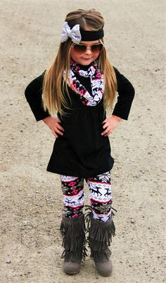 Black/ Gray/ Pink Reindeer Scarf Boutique Outfit ( 3pc. set)