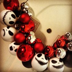 DIY Jack Skellington from The Nightmare Before Christmas wreath. I made this a few weeks ago :D