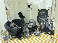 potion bottles for halloween | Halloween-Vignette-with-DIY-Faux-Mercury-Glass-Potion-Bottles