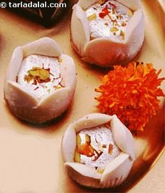 Gulab, the bengali sweet dish is made from rasgullas and sandesh.Make this attractive sandesh rose and show off your culinary skills. Indian Dessert Recipes, Indian Sweets, Indian Snacks, Sweets Recipes, Snack Recipes, Cooking Recipes, Indian Recipes, Sweet Desserts, Delicious Desserts
