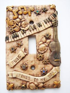 Music steampunk switch plate 1 handmade by Marie by mariesegal, $34.99